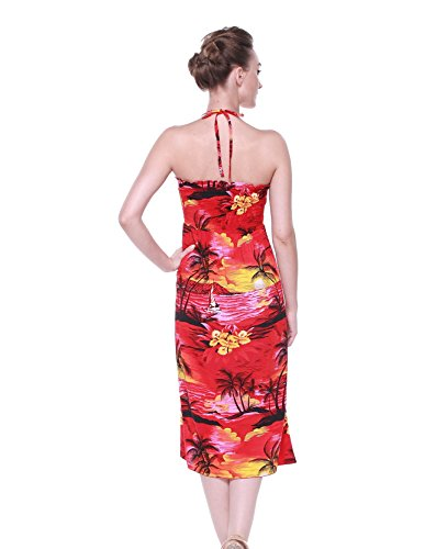 Hawaii Luau Sunset Hangover Dress Floral Butterfly Hawaiian Red Women's Halter Print wrA7w