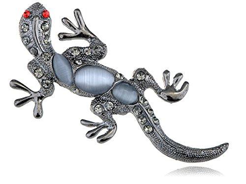 Alilang Cat Eye Gem Ruby Crystal Rhinestone Silvery Tone Reptile Gecko Lizard Pin - Lizard Crystal Pin