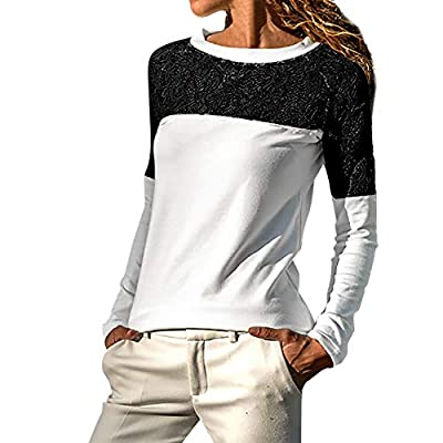 Chaofanjiancai Women Long Sleeve Solid Lace Trimmings Hollow Out Loose Blouse Casual Tops T Shirt