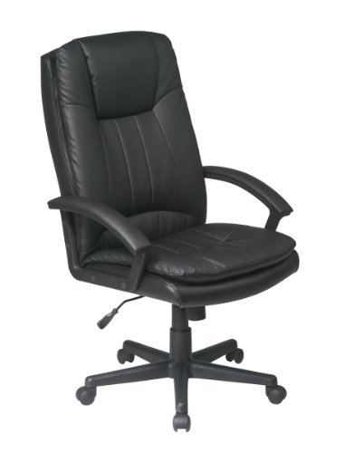 Office Star Deluxe High Back Eco Leather Thick Padded Contour Seat and Back with Built-in Lumbar...