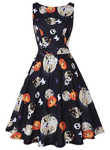 MISSJOY Women's Boat-Neck Floral Sleeveless Midi Fit Flare Dress with Pocket