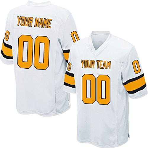 Custom Youth White Mesh Football Game Jersey for Kids Swen Team Name and Your Numbers,Yellow-Black Size L ()