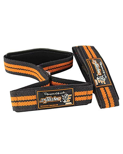 ESTREMO Heavy Duty Figure 8 Eight Double Loop Lifting Wrist Straps (Orange) ()