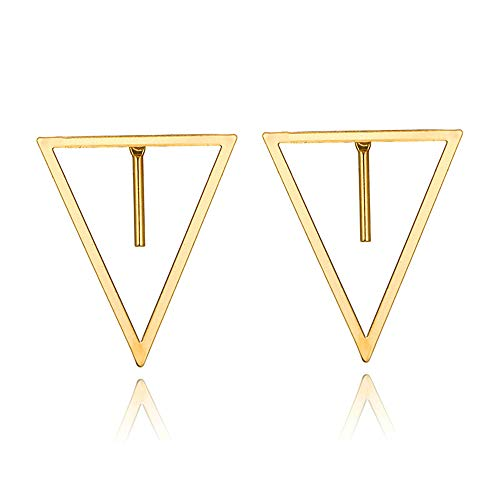 - Bracet Silver&Gold Tone Geometric Stud Earrings for Women Bar Round Triangle Square Earring Set Stackable Fashion Jewelry (Gold)