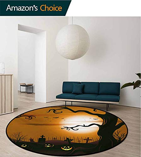 Halloween Modern Machine Washable Round Bath Mat,Leafless Creepy Tree with Twiggy Branches at Night in Cemetery Graphic Drawing Non-Slip Living Room Soft Floor Mat,Diameter-51 Inch -