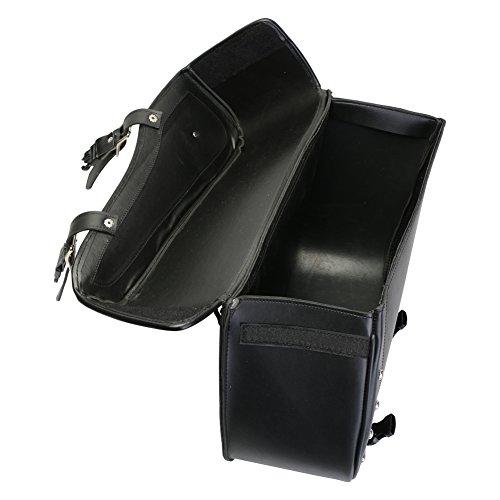 Turin - Motorrad Packtasche mit Schnellverschluss & Nieten - Leder - Schwarz