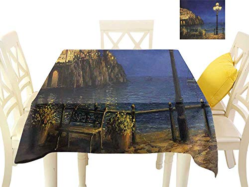Outdoor Amalfi Bar Table (W Machine Sky Waterproof Tablecloth Italy Starry and Romantic Evening at The Coast of Amalfi in Italy Oil Painting Style W70 xL70 Suitable for Buffet Table, Parties, Wedding)