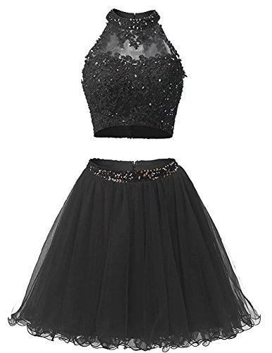 Robes De Retour À La Maison De Deux Courtes Pièces Ainidress Robes De Bal Robe De Perles 2017 Appliqué Noir