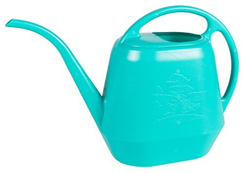 Bloem Aqua Rite Watering Can, 56 oz, Calypso - Curved Flower Blue Coffee