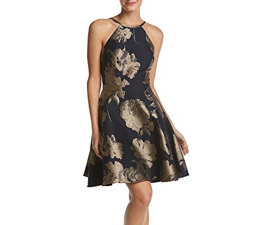 Xscape Women's Short Fit and Flair Party Dress, Navy/Champ