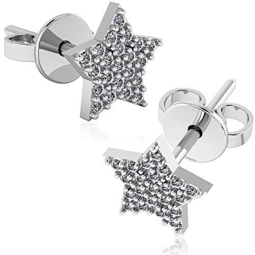.925 Sterling Silver & Pavé-Set Cubic Zirconia Petite Stud Earrings - Classic Star ()