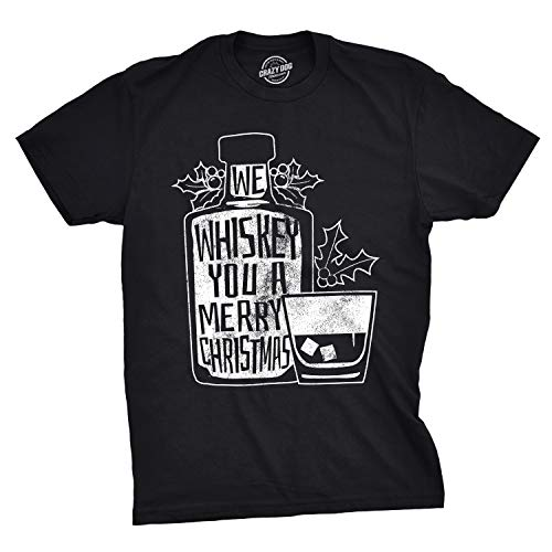 Mens We Whiskey You A Merry Christmas T Shirt Drink Lover Whisky Tshirt (Black) - 3XL (Drinks Christmas Vodka Based)
