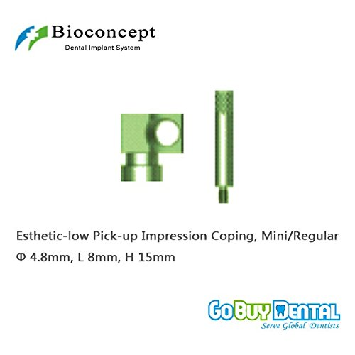 Osstem TS3(Hiossen ET3)Compatible Mini/Regular Esthetic-low Pick-up Impression Coping φ4.8mm, Length 15mm for Open Tray