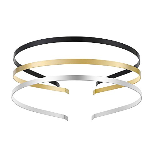 Smooth Metal Headbands with 3 Colors Black Gold Silver Plated Hairband Head Bands Pack of 12 by YUE DOU XIONG