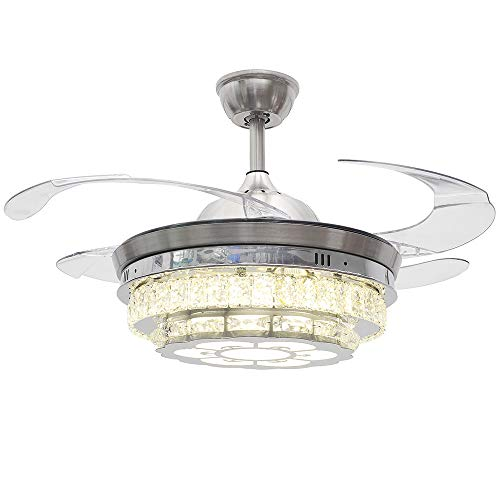 RS Lighting Modern Crystal Remote Control Ceiling Fan Lamp 42-inch Lighting Fan Chandelier with Transparent Acrylic Retractable Blades Led Lights Fixture (Silver) -