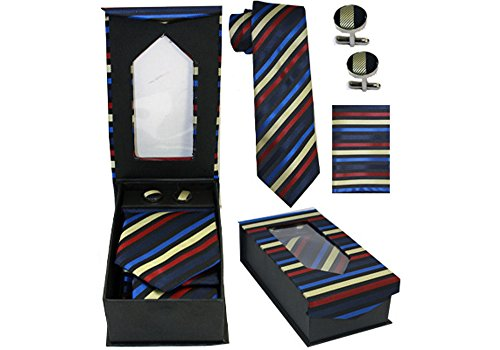 Designer Necktie, Cufflink, Handkerchief Set - Classy Solid, Striped, Dot Patterns (Rainbow (Multi Stripe Cufflinks)