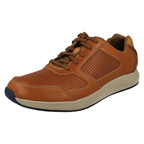 Clarks Casual Hombre Zapatos Sirtis Mix En Piel Marrón Marrón