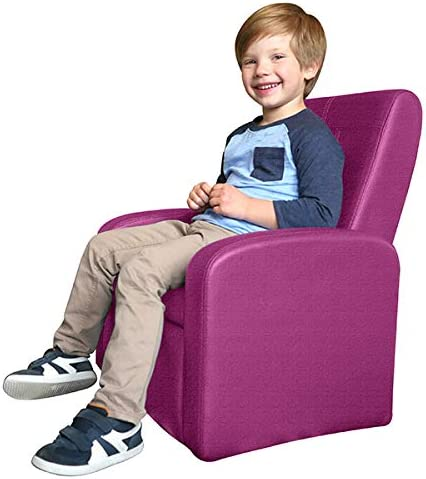 STASH Comfy Upholstered Kids Toddler Sofa Chair with Toy Storage Chest Ottoman Folding Childrens Child Soft Comfy Baby Armchair Recliner Mini Little Small Plush Lounge Living Room seat boy Girl Pink