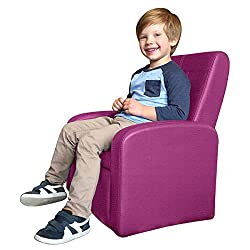 STASH Folding Kids Sofa Chair with Built in Storage Modern Childrens Ottoman Cube Living Room playroom Lounge Organizer Comfy Home Couch Sitting Play Furniture Armchair for Girls Boys (Magenta Pink)