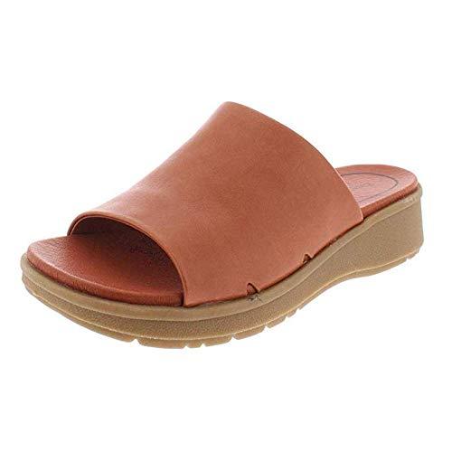 BareTraps Womens Rebecca Leather Open Toe Casual Slide, Sienna, Size 7.5