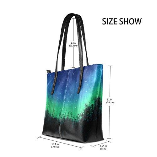 Dark PU Handle TIZORAX Shoulder Bags Fashion Night Totes Top Leather Many Sky Women's With Purses Stars Blue Handbag 5qOvqcZ8x