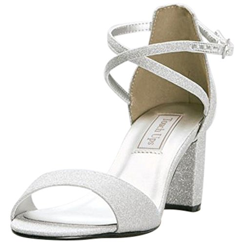 David's Bridal Crisscross Strap Mid-Heel Sandals Style Jackie, Silver, (Touch Ups Mid Heel Sandals)