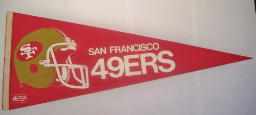 Vintage 1980s San Francisco SF 49ers Full Size Pennant (new old stock) (Francisco Throwback 49ers San Pennant)