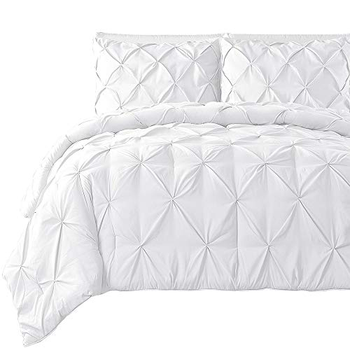 Pintuck Standard Sham - Comfy Lecho PREMIUM QUALITY BEDDING COLLECTION!Ultra-Soft Luxurious 2-Pc PINCH PLEATED PINTUCK Decorative Pillow Shams,Finest Quality Egyptian Cotton,800 TC Comforter Cover by (Standard, White)