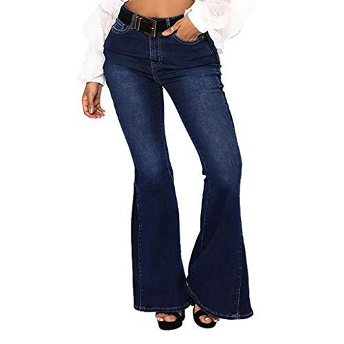(Women Elastic Plus Jeans Loose Denim Pocket Button Casual Flare Pants)