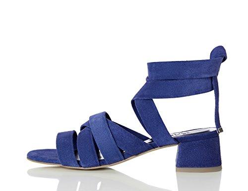 FIND Sandalias de Tiras Atadas al Tobillo para Mujer Azul (Blue)