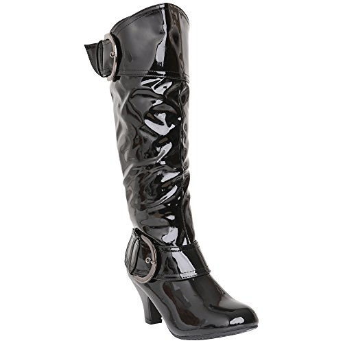 CORE COLLECTION Womens Ladies MID Heel Winter Twin Buckle Zip Calf Knee Riding Shoes Boots Size 3-8 Black Patent 2QNKo4