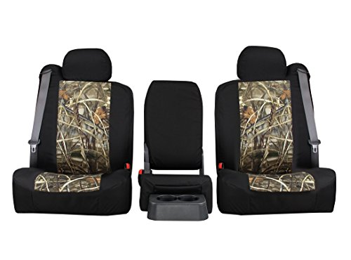 Rear SEAT: ShearComfort Custom Realtree Camo Seat Covers for Chevy Silverado (2007-2013) in MAX-4 Waterfowl Sport for Solid Bench w/Adjustable Headrests (Extended Cab)