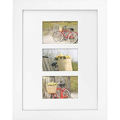 Mainstays Museum 12 x 16 Matted to Three 4 x 6 Openings Picture Frame, White