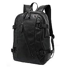 Myosotis510 Men's Vintage Soft Leather Business Backpack