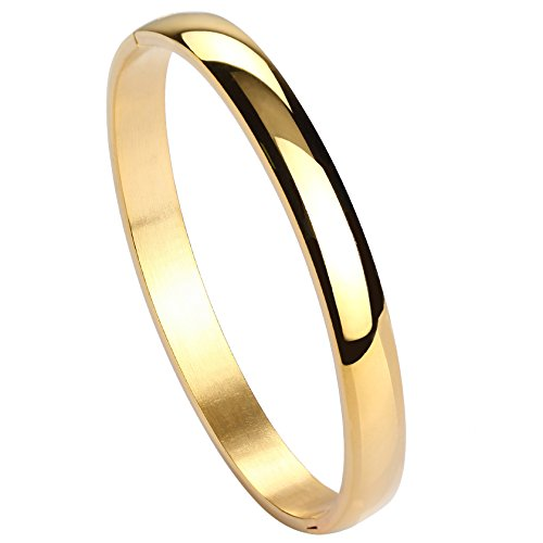 Jusnova Womens Mens Stainless Steel Brecelet Plain Polished Finish Cuff Bangle 7.3 Inches Gold Color