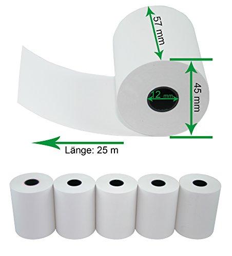 5 x EC Cash Thermorollen Breite: 57mm; Ø Rolle: 45mm; Ø Hülse: 12mm; Lauflänge: 25m