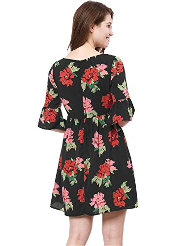 Allegra K Vestido De Flores Mangas De Campana Cuello Barco para Mujer: Amazon.es: Ropa y accesorios