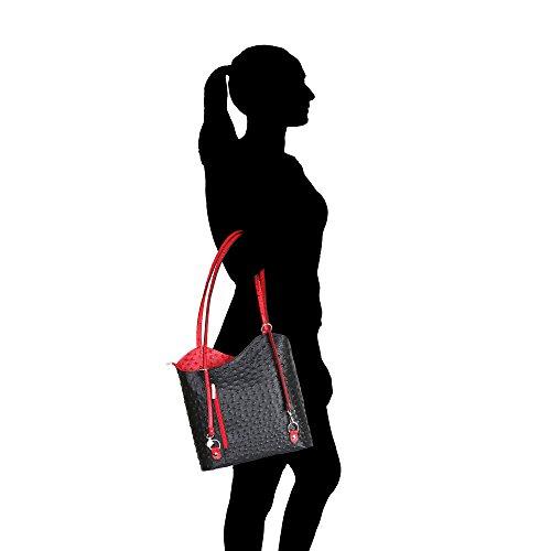 Borse véritable Chicca d'autruche à 28x30x9 Italie Fabriqué femme en Cm Sac en bandoulière Modèle cuir rouge Noir qP70dwR