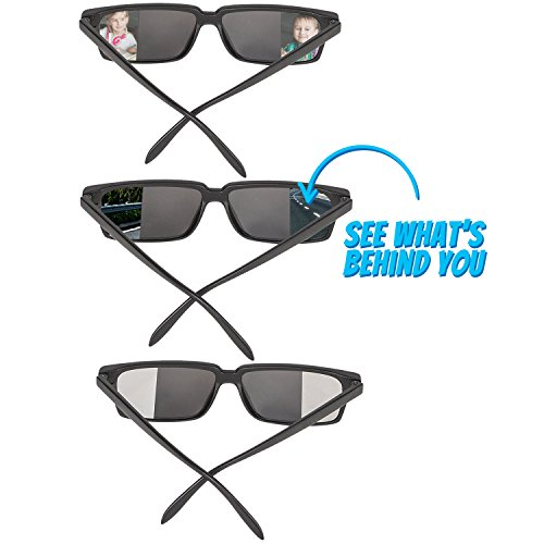 Rearview Spy Sunglasses with Flexible Frame (Pack of 3) Mirror Glasses for Behind Vision, Great Fun Party Favor for Kids,