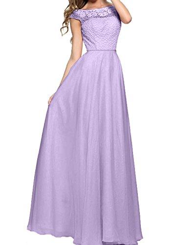 La Hundkragen Ballkleider Partykleider Festlichkleider Braut Abendkleider 2018 Applikation mit Lilac mia Spitze Langes r48afTrq