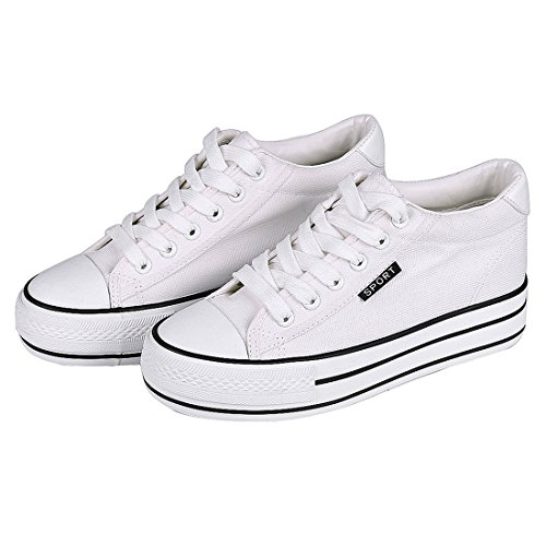 Shevalues Canvas Platform Sneakers High Heel Sneakers Casual White Lace Up Wedge Sneakers For Women White