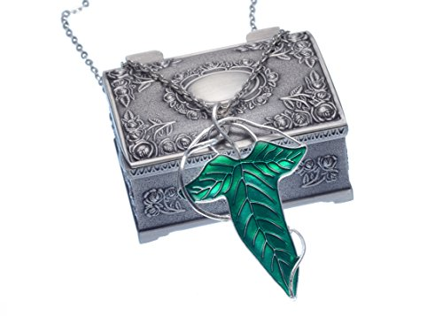 [REINDEAR The Lord of the Rings Costume Aragorn Elven Green Leaf Brooch Pin w/ Chain Necklace (Necklace w/ Jewelry] (Lord Of The Rings Costumes Aragorn)