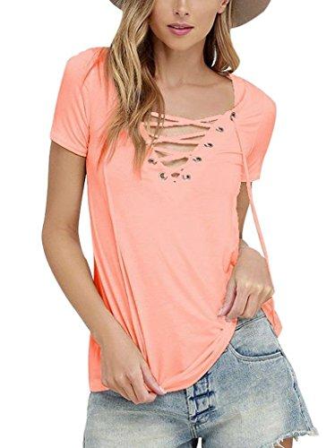 Sumtory-Womens-Sexy-V-Neck-Bandage-Short-Sleeve-T-Shirt-Tops