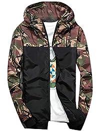 Mens Camouflage Patchwork Long Sleeve Hooded Windbreaker Jacket