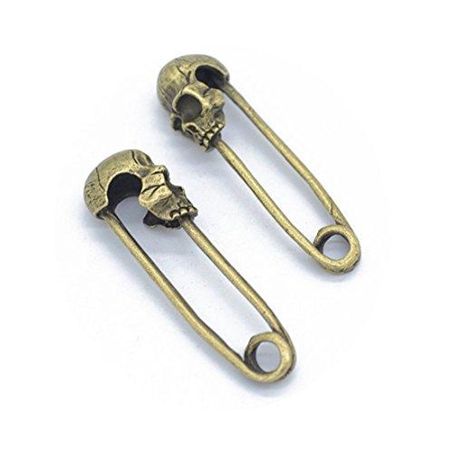 3 PCS charm pendant ,brooch pin skull head ,Skull Head Skeleton Pendant Charm ,Bronze or silver (Bronze)