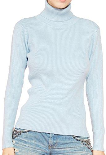 - LONGMING Women's Turtleneck Sweater (Large,Sky Blue)