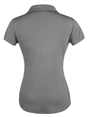 Ninedaily Sexy Shirt for Women, Office Tops V Neck Short Sleeve Tops Party Business Wear Tee Gray Size XL by Ninedaily (Image #1)