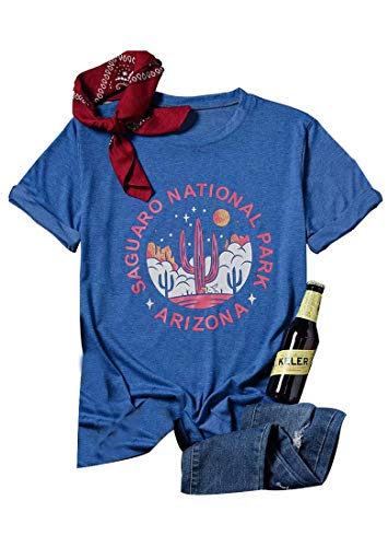(Arizona Saguaro National Park Cactus T-Shirt Women Cute Graphic Short Sleeve Funny Letter Print Blouse Tee Size S (Blue))