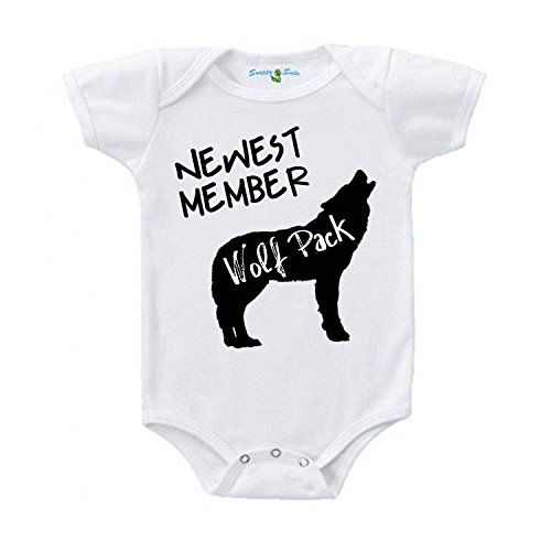 Snappy Suits Newest Member The Wolfpack Cute Baby One Piece Suit Romper (6-12 Months, A) Short Sleeve ()