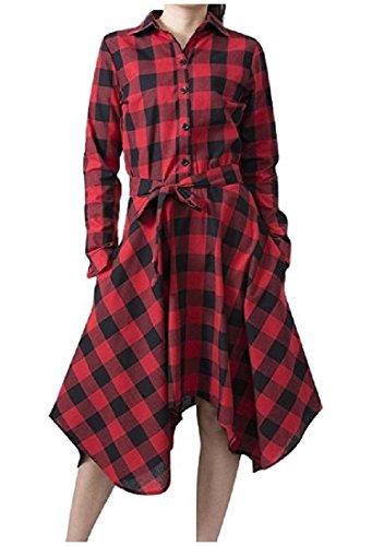 Confortables Femmes Acceptent Manches Longues Couleur À Carreaux Coup Lacer Taille Mini Robe Rouge Vin